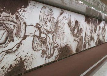 Kadokawa dùng bùn đất vẽ lên tường để quảng bá game khiến cả nước trầm trồ vì artwork quá chất