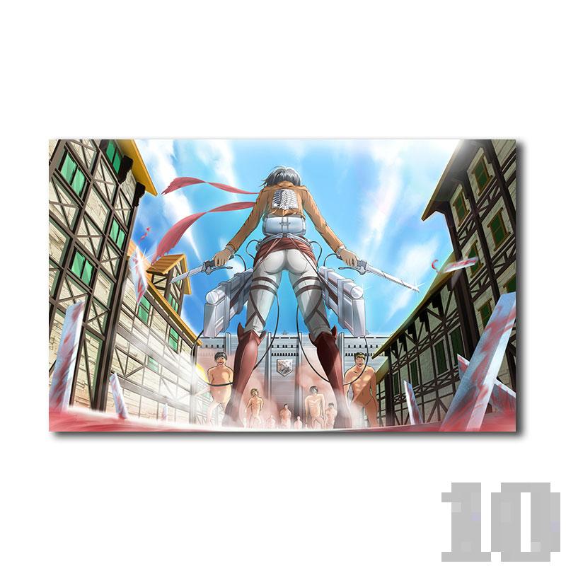 Poster attaque des titans Mikasa versus Titans