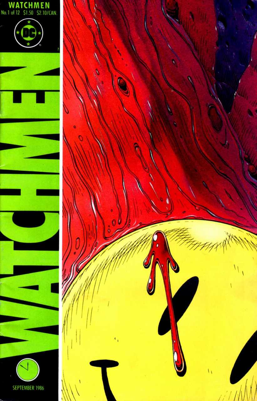 Watchmen Graphic Novel cover issue #1, At Midnight, All The Agents by Dave Gibbons. The purpose of the image is to show the smiley face motif