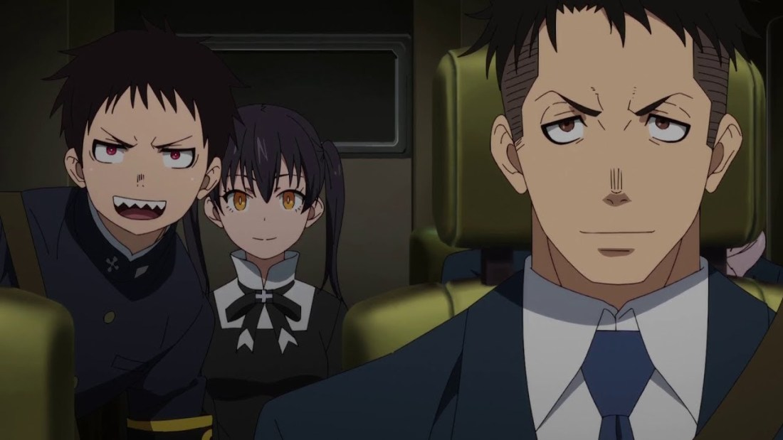 In episode 10 of Fire Force, Shinra, Tamaki and Obi are sitting in the car arriving to the meeting at  Amaterasu.
