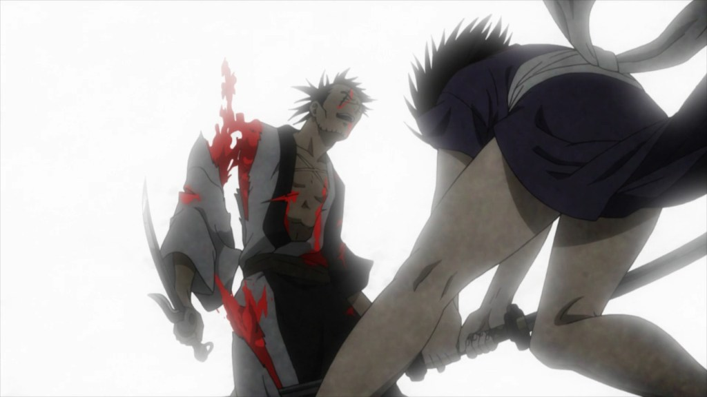 In Episode 3 of Blade of the immortal, Makie cuts off Manji's arm and leg.