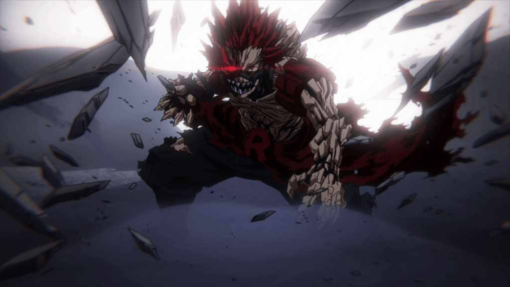 In My Hero Academia Season 4 - Episode 5. Red Riot (Eijiro) using his Red Riot Unbreakable super move.