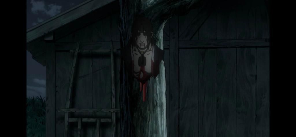 Eiku's torso being pinned to a tree