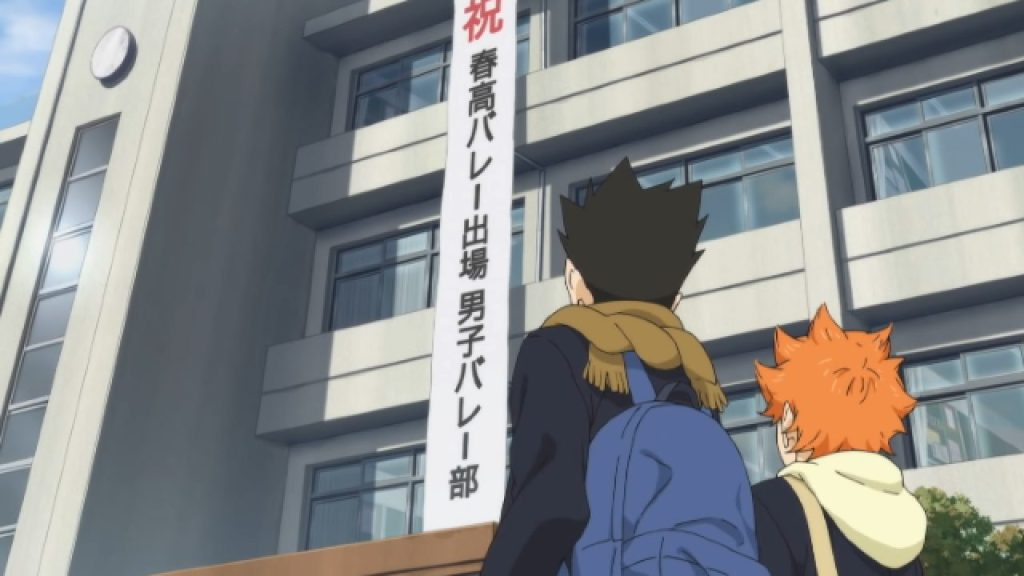 Hinata and Acchan marvel at the banner congratulating the volleyball team