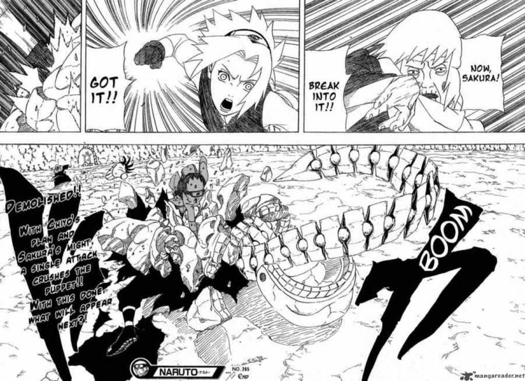 Sakura destroys Sasori's puppet with Chiyo's aid