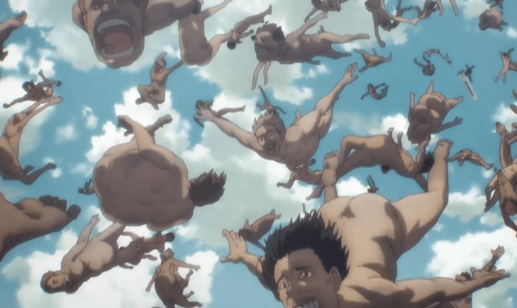 Titans fall from the Marley's blimp, crushing the Fort below in episode 1 of season 4 of Attack on Titan.