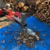 サクラ枝を朝から割る