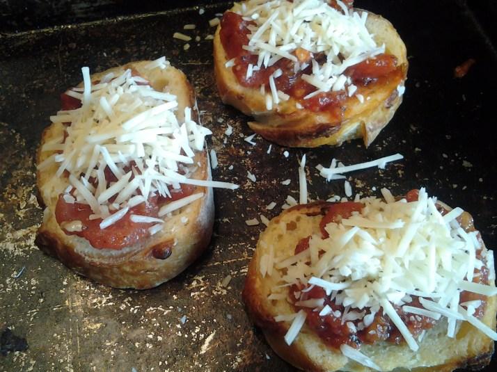 bruschetta ready for the oven