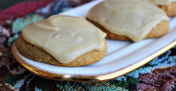 pumpkin cookies with caramel frosting #ad