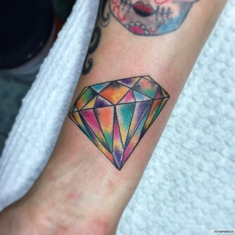 разноцветный бриллиант тату на запястье у девушки добавлено иван