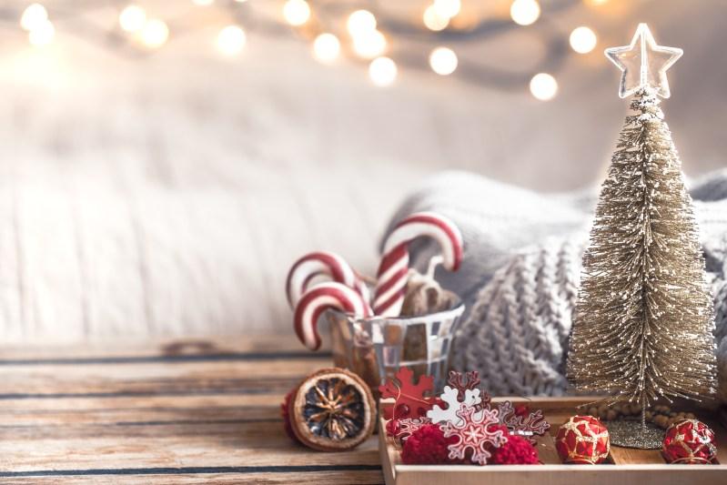 christmas festive decor still life wooden background