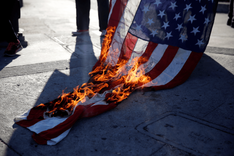 Image result for burning an american flag
