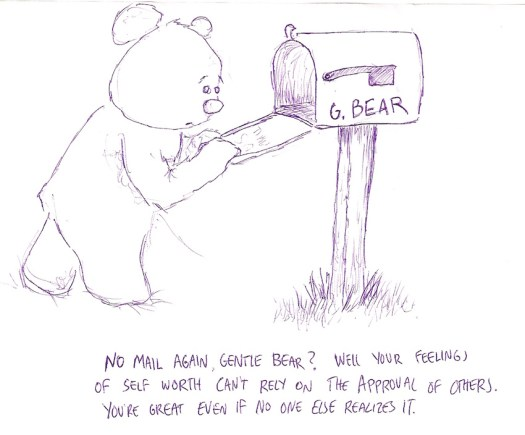 Gentle Bear checks his mail.