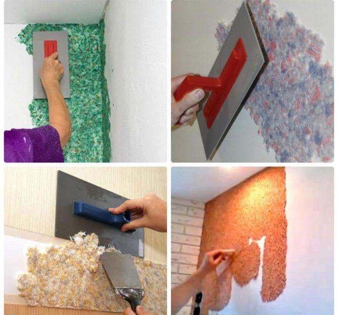 примеры отделки стен жидкими обоями