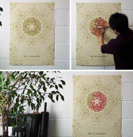 тепловые обои меняют цвет на стене