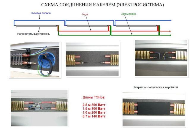 схема соединения проводов в теплом плинтусе