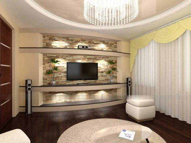 потолки в гостиной из гипсокартона или стекломагнезита