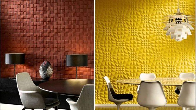 примеры поролоновых обоев на стене