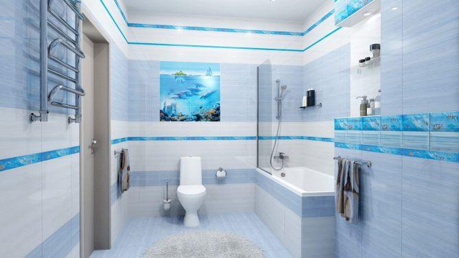 ванная комната в светло-синих тонах