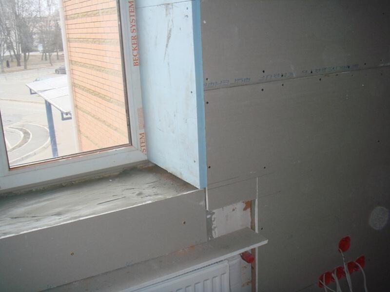 หน้าต่างลาดของ drywall