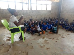 FCUBE:Atebubu Fakwasi Presby Basic School pupils study on bare floor 1