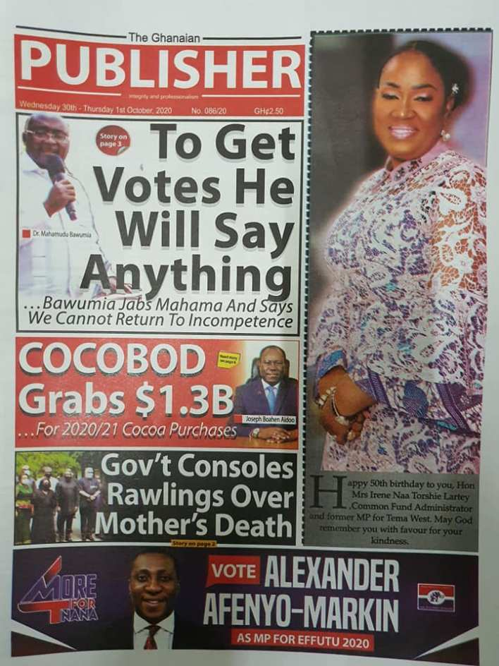 Newspaper headlines of Wednesday, September 30, 2020 104