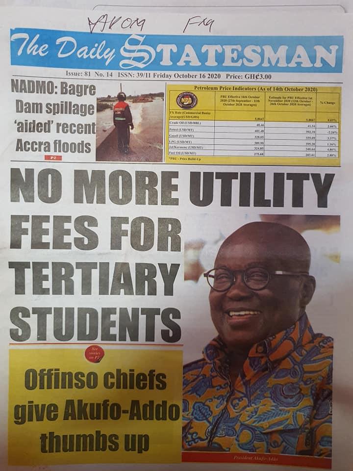 Newspaper headlines of Friday, October 16, 2020 95