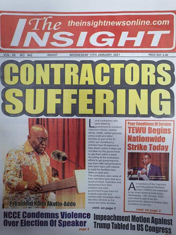 Newspaper headlines of Wednesday, 13 January , 2021 73