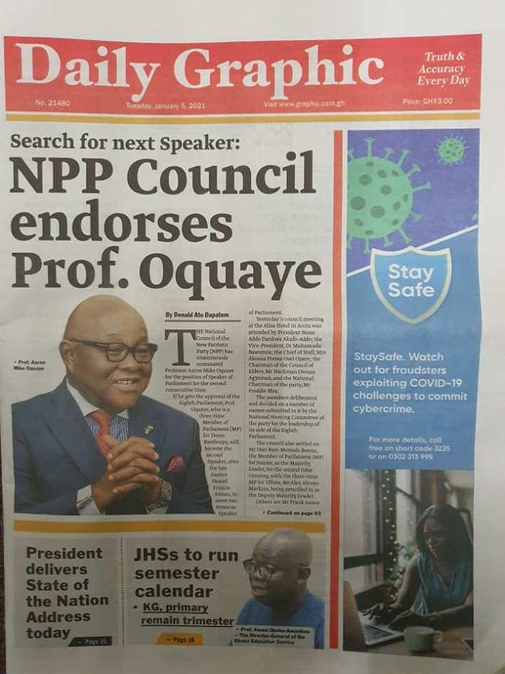 Newspaper Headlines of Tuesday, 5 January 2021 15