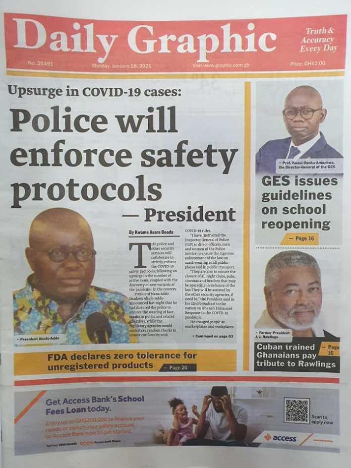 Newspaper headlines of Monday, January 18, 2021 91