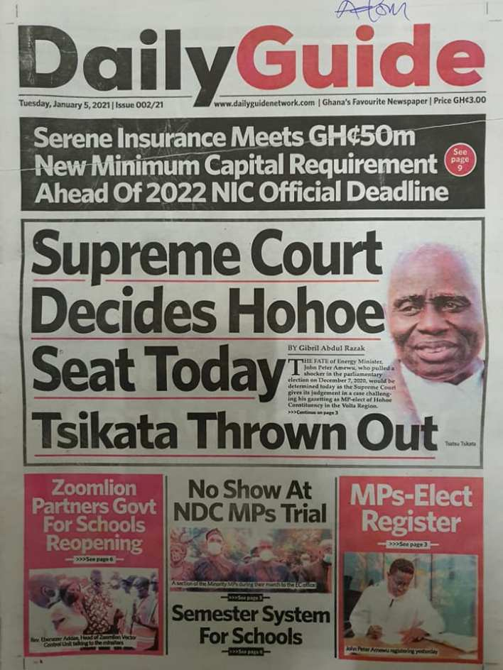 Newspaper Headlines of Tuesday, 5 January 2021 11