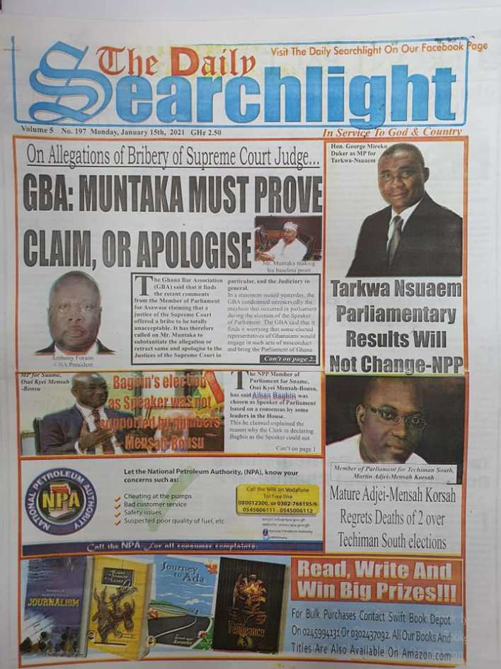 Newspaper headlines of Monday, January 18, 2021 95