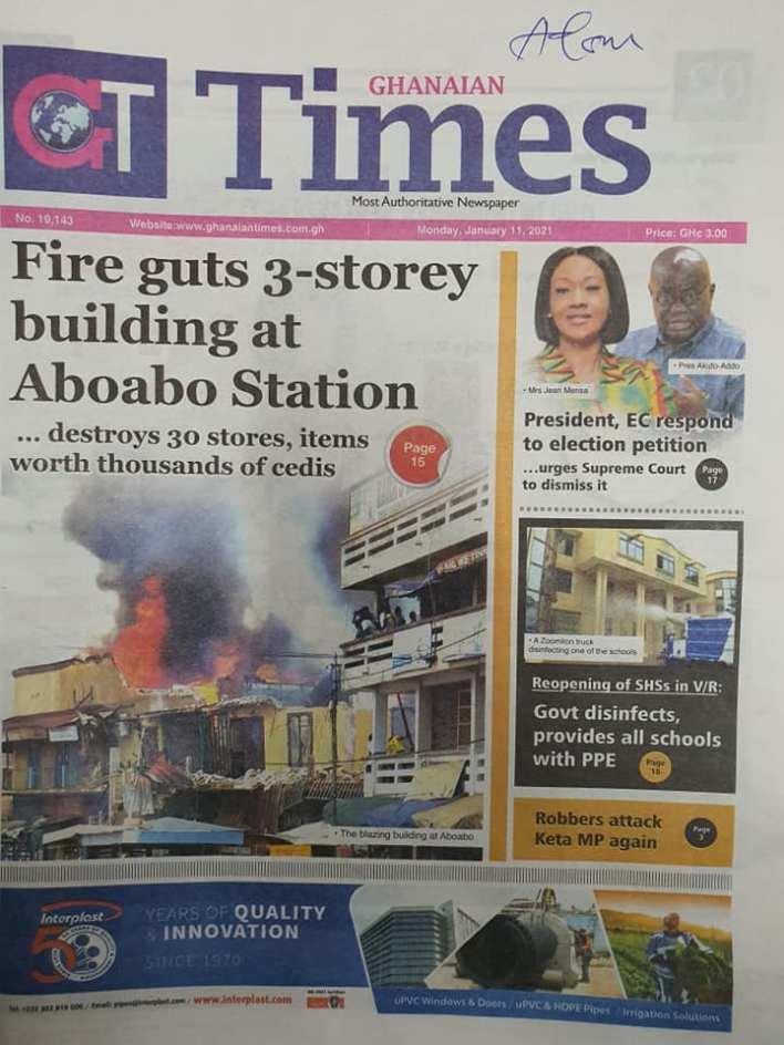 Newspaper headlines of Monday, January 11, 2021 69
