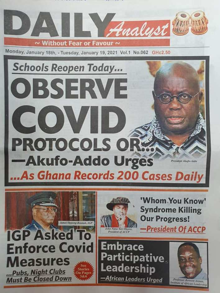 Newspaper headlines of Monday, January 18, 2021 100