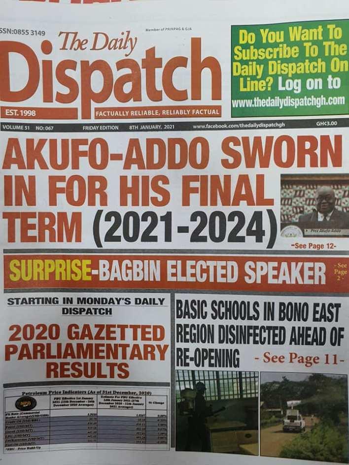 Newspaper headlines of Friday, January 8, 2020 54