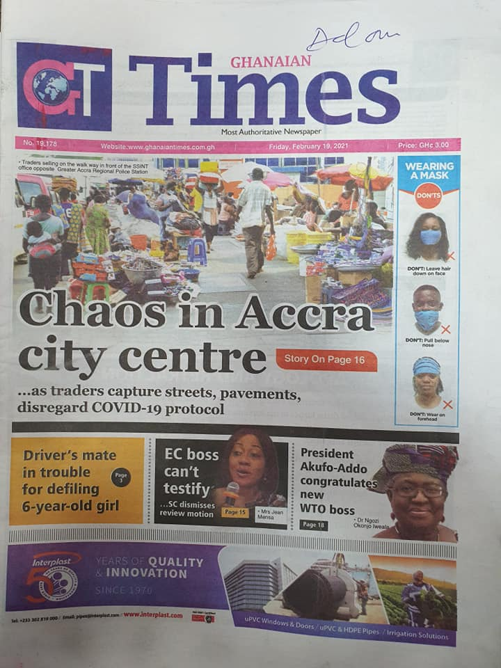 Newspaper headlines of Friday, February 19, 2021 104