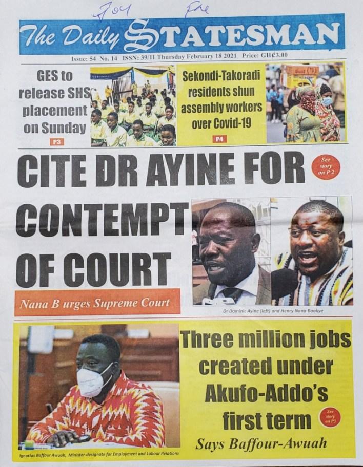 Newspaper headlines of Thursday, February 18, 2021 39