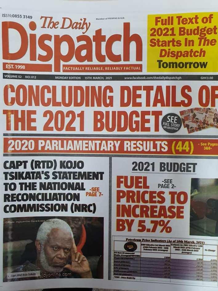 Newspaper Headlines of Monday, March 15, 2021 118