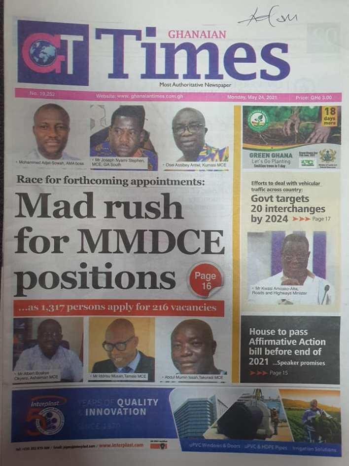 Today's Newspaper headlines: Monday, May 24th ,2021 3