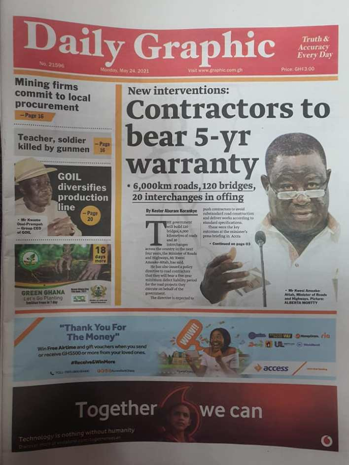 Today's Newspaper headlines: Monday, May 24th ,2021 13