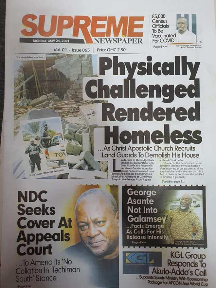 Today's Newspaper headlines: Monday, May 24th ,2021 10