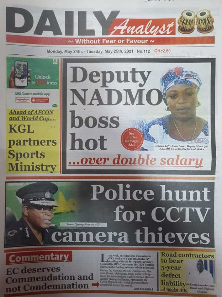 Today's Newspaper headlines: Monday, May 24th ,2021 5