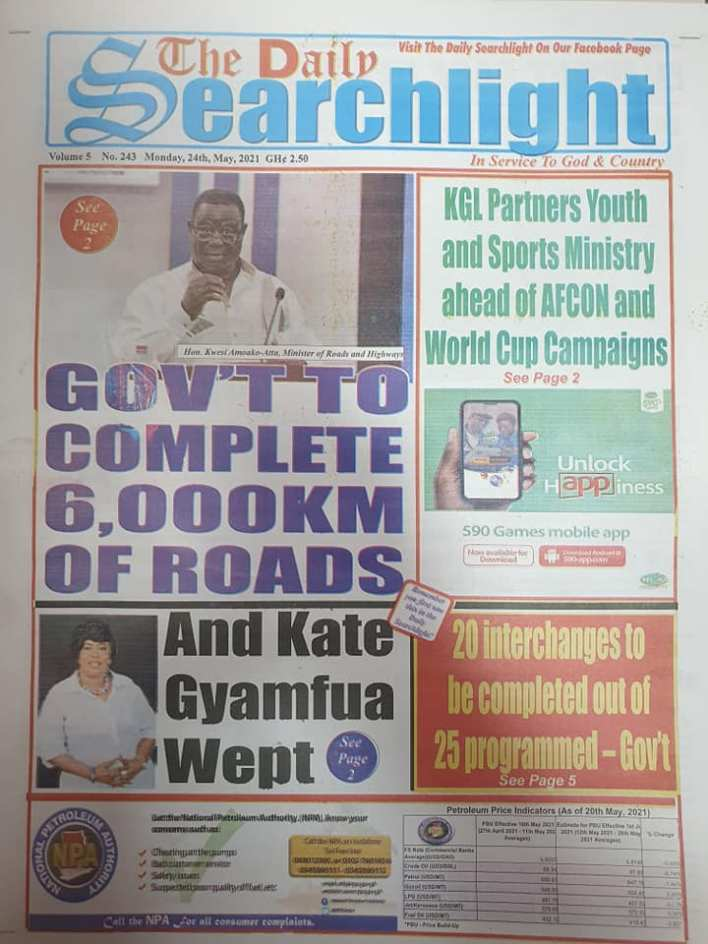 Today's Newspaper headlines: Monday, May 24th ,2021 6