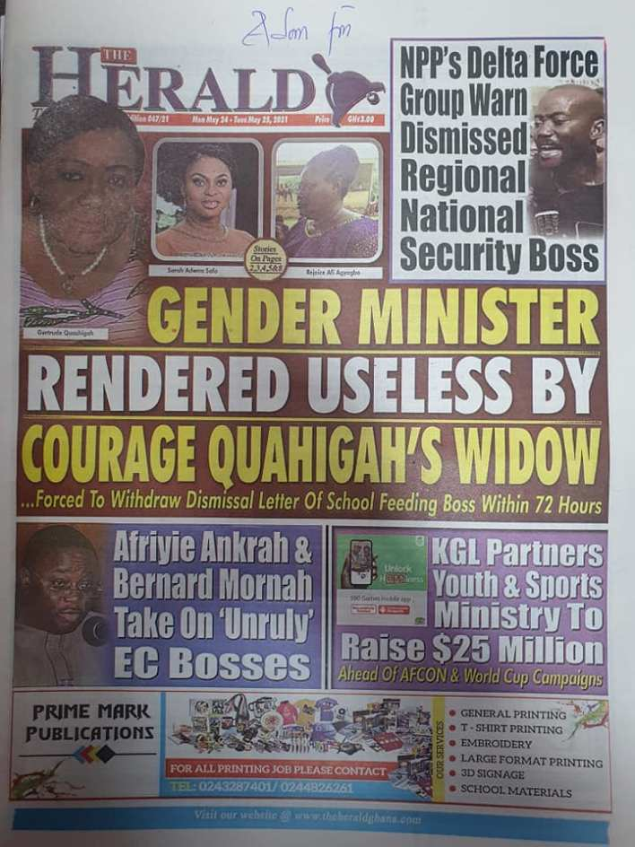 Today's Newspaper headlines: Monday, May 24th ,2021 12