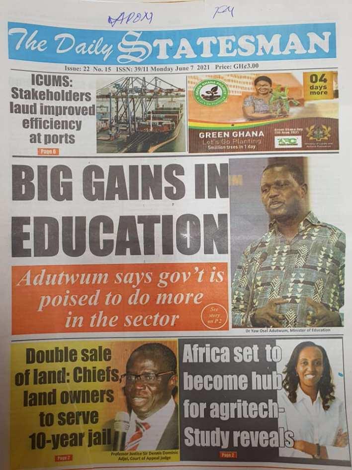 Newspaper headlines of Monday, June 7, 2021 17