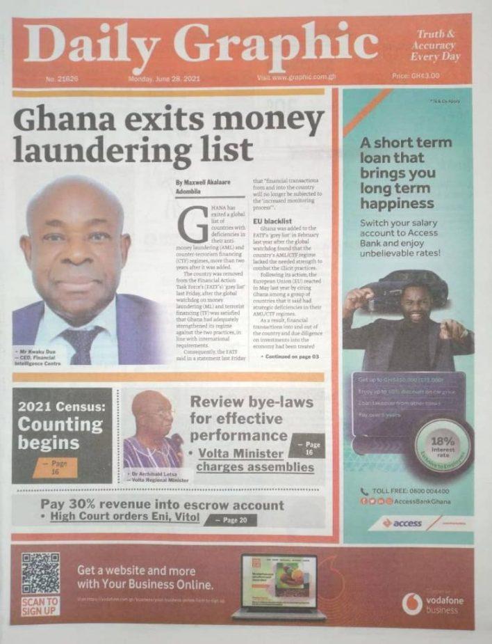 Newspaper headlines of Monday, June 28, 2021 2