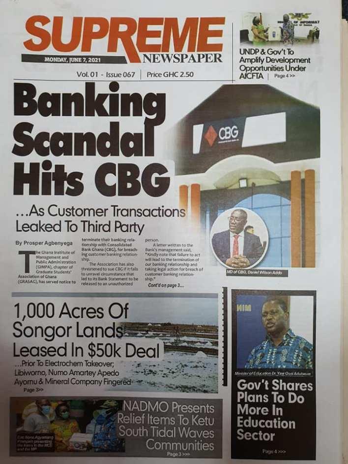 Newspaper headlines of Monday, June 7, 2021 14