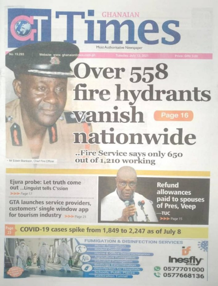 Today's Newspaper Headlines, Tuesday July 13, 2021 5