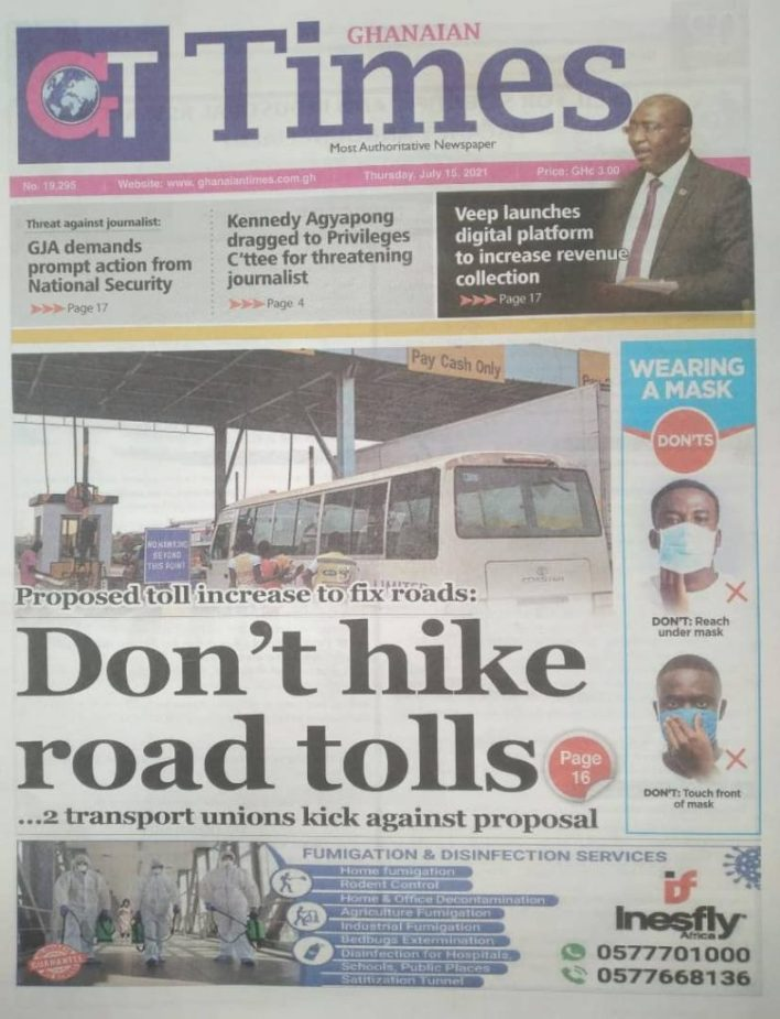 Today's Newspaper Headlines Of Thursday July 15, 2021 4