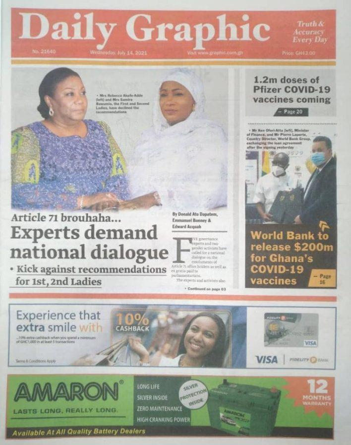 Today's Newspaper Headlines Wednesday July 14, 2021- Photos 45